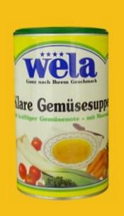 Klare Gemüsesuppe mit kräftiger Gemüsenote und Meersalz gekörnt 1/2 Dose von Wela