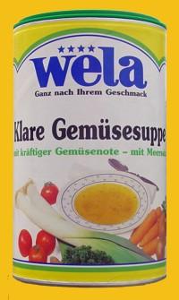 Klare Gemüsesuppe mit kräftiger Gemüsenote und Meersalz gekörnt 1/1 Dose von Wela